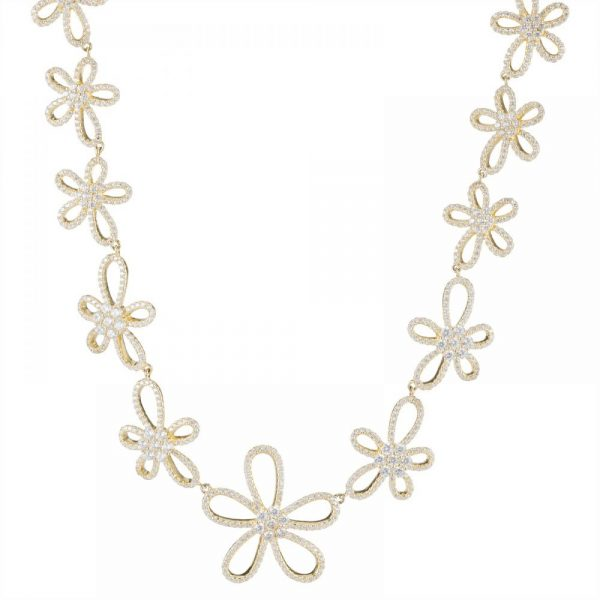 925 Silver Gold Plated Flower Full Jewelry Set FS0003