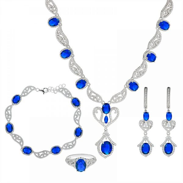 925 Silver Blue Oval Crystal Full Jewelry Set FS0011