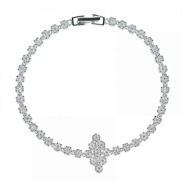 925 Silver Diagonal Charm Flower Full Jewelry Set FS0012