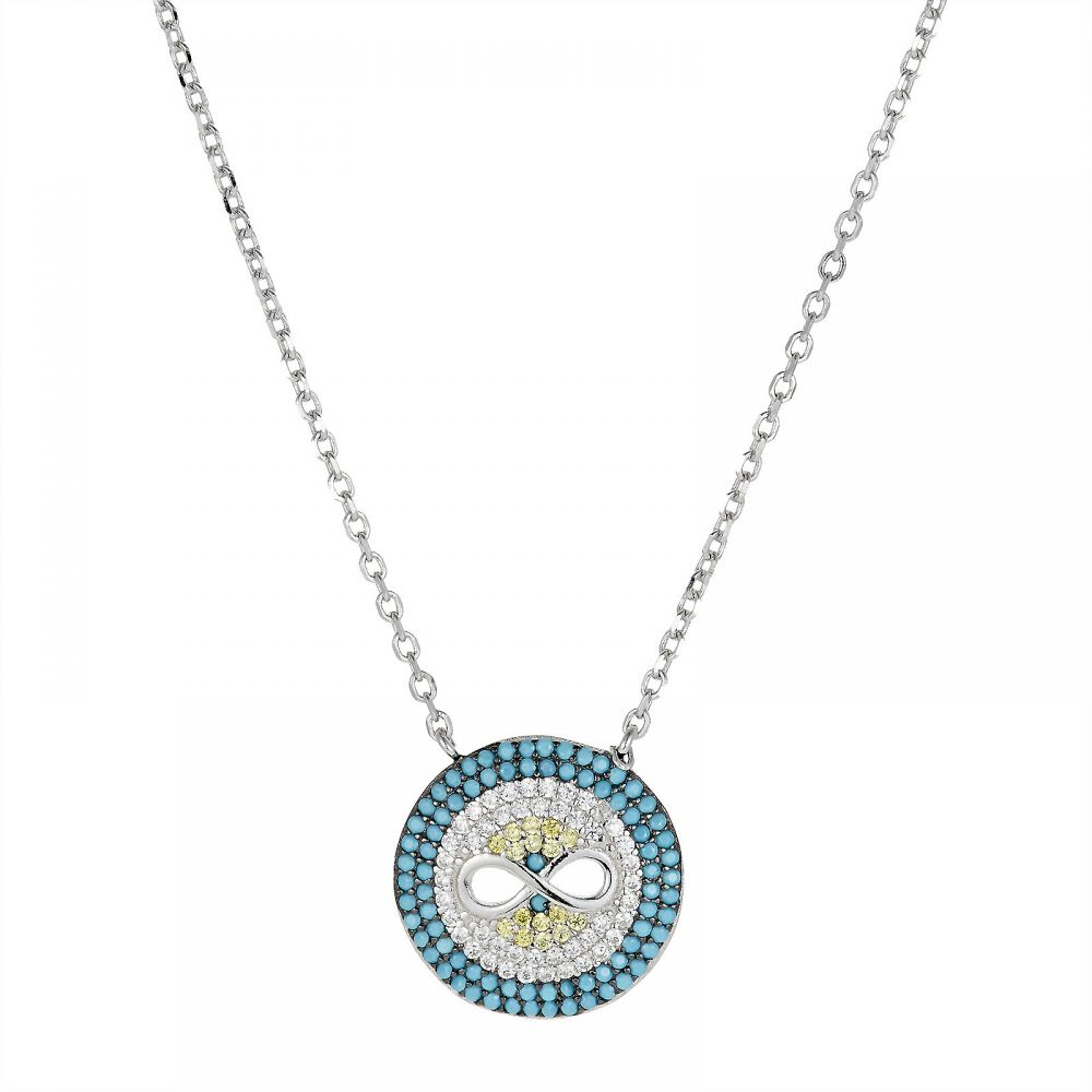 925 Silver Turquoise Evil Eye Necklace NK1008