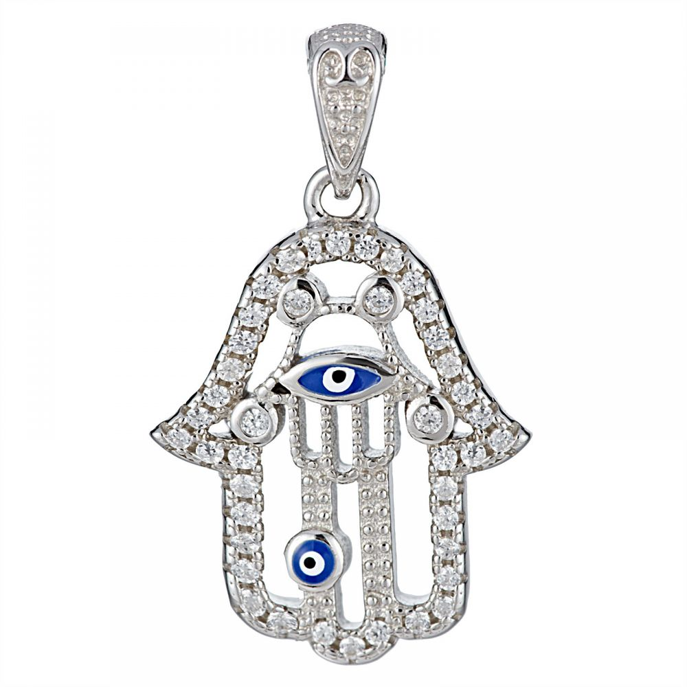 925 Silver Fatima Hand Evil Eye with CZ Pendant PD0015