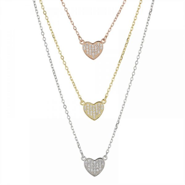 925 Silver Heart Tricolor CZ Necklace NK1017