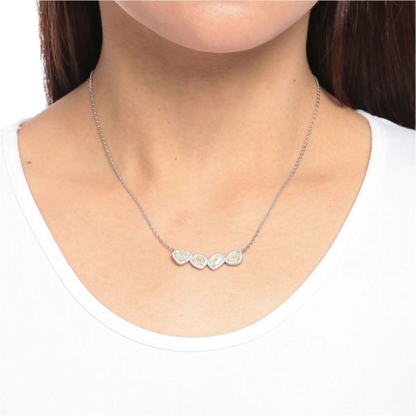 925 Silver CZ Color Stone Necklace NK1003