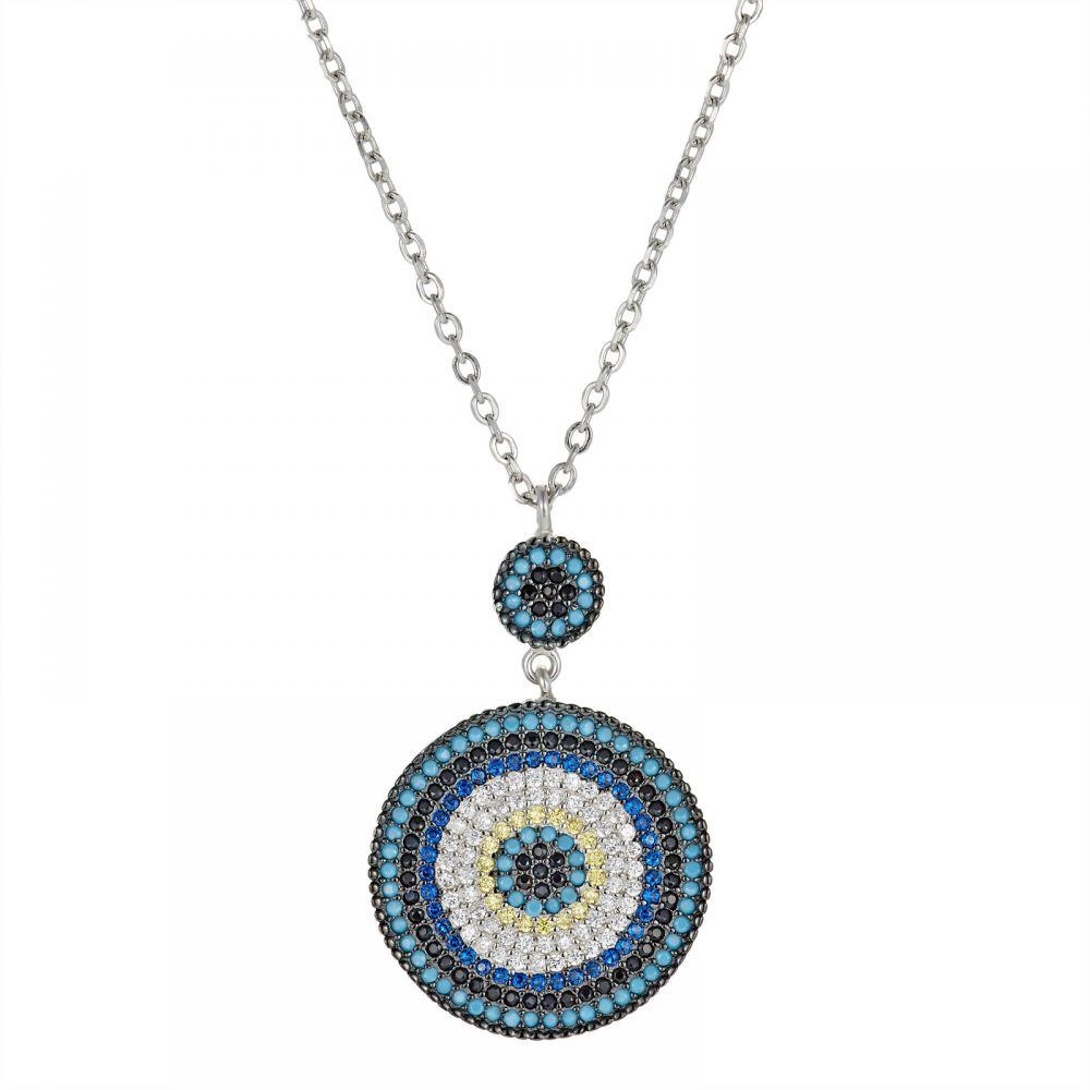 925 Silver Round Evil Eye Necklace NK1012
