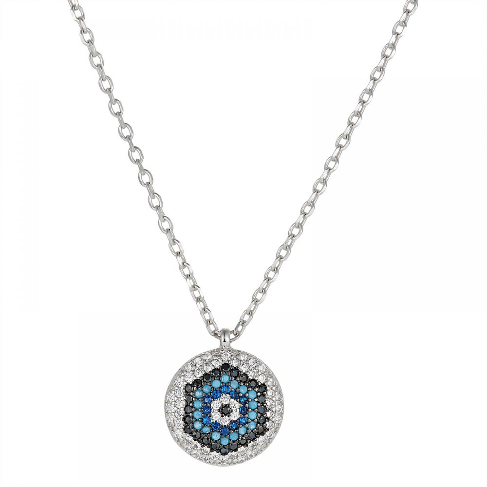 925 Silver Round Evil Eye Necklace NK1005