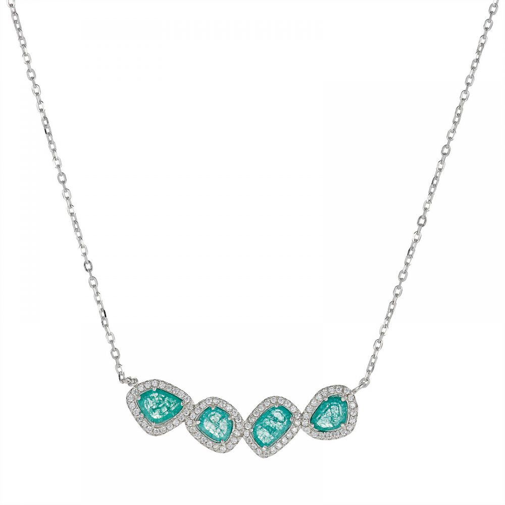 925 Silver CZ Color Stone Necklace NK1013