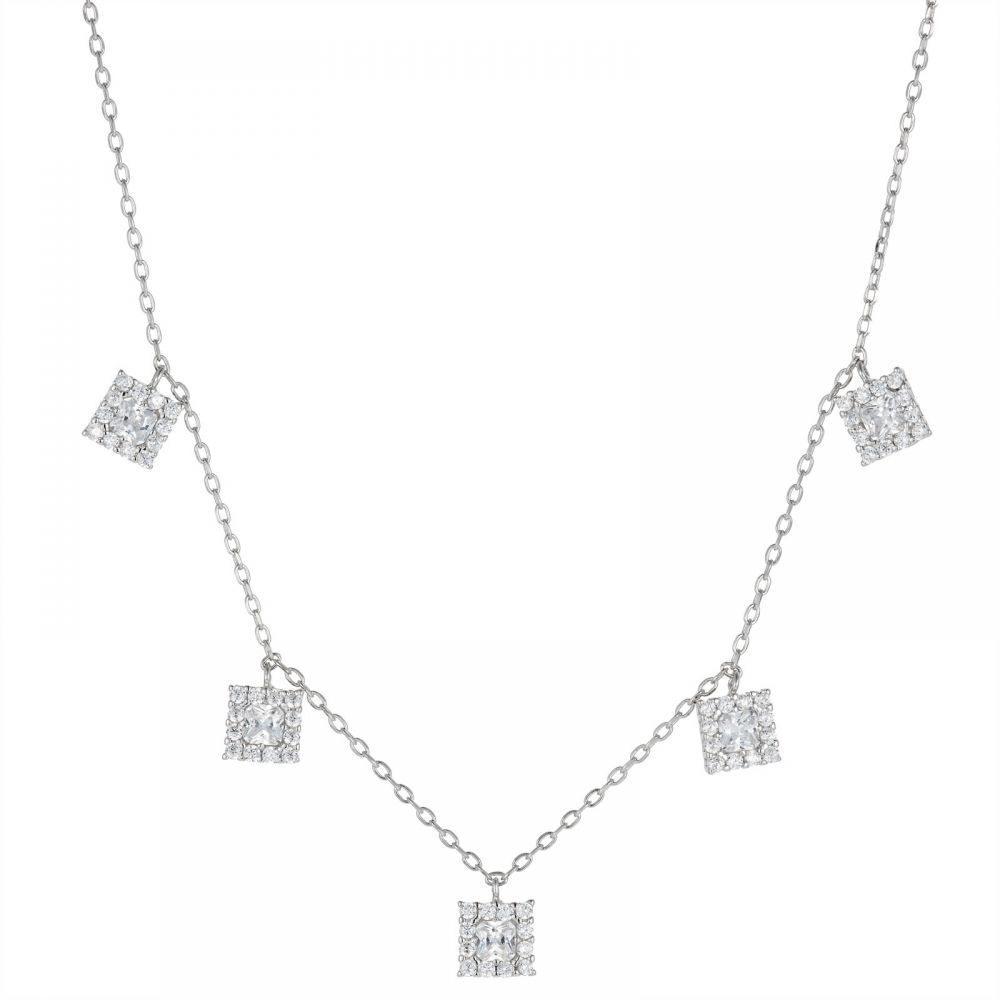 925 Silver Square CZ Charm Necklace NK1006