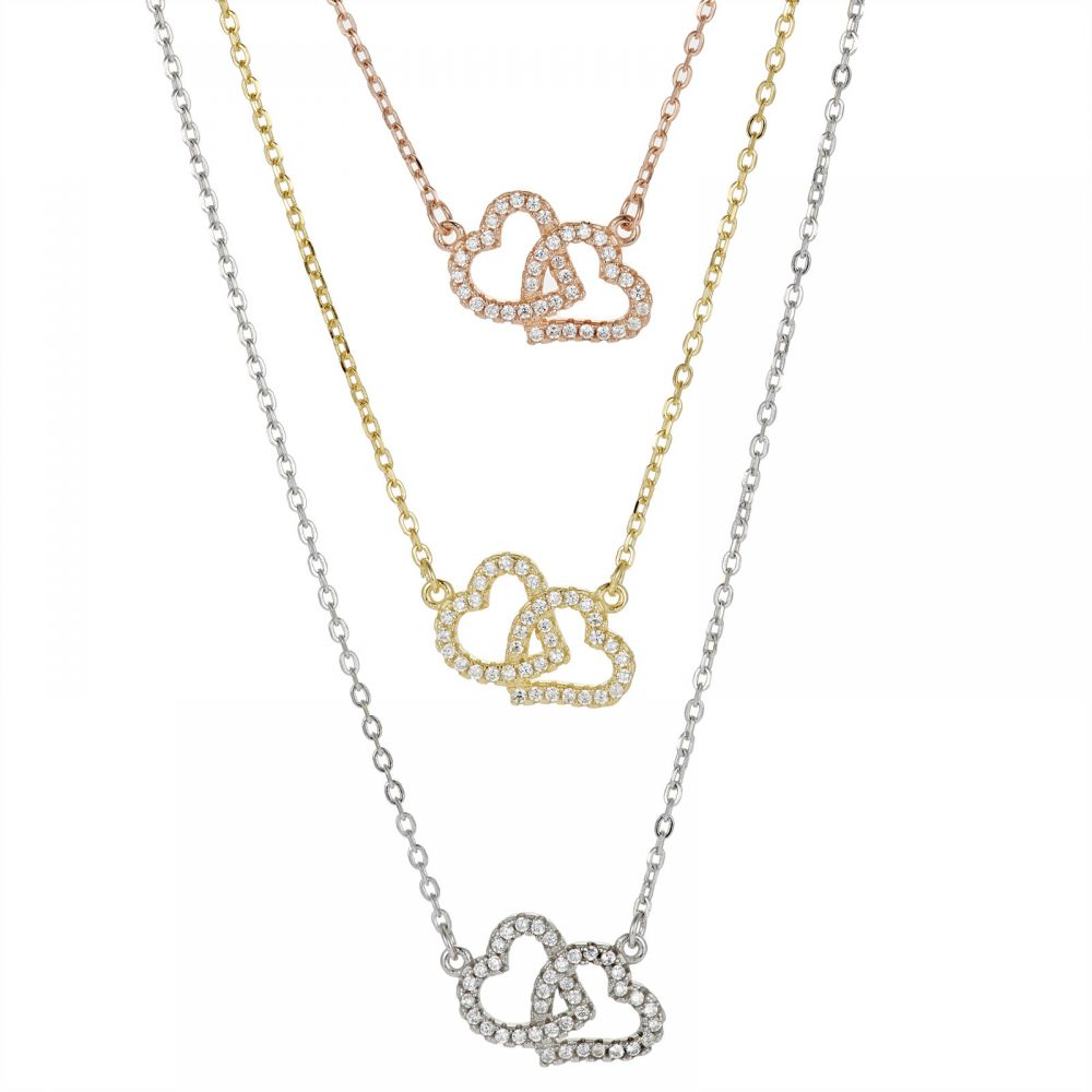 925 Silver Twin Hearts Tricolor CZ Necklace NK1021