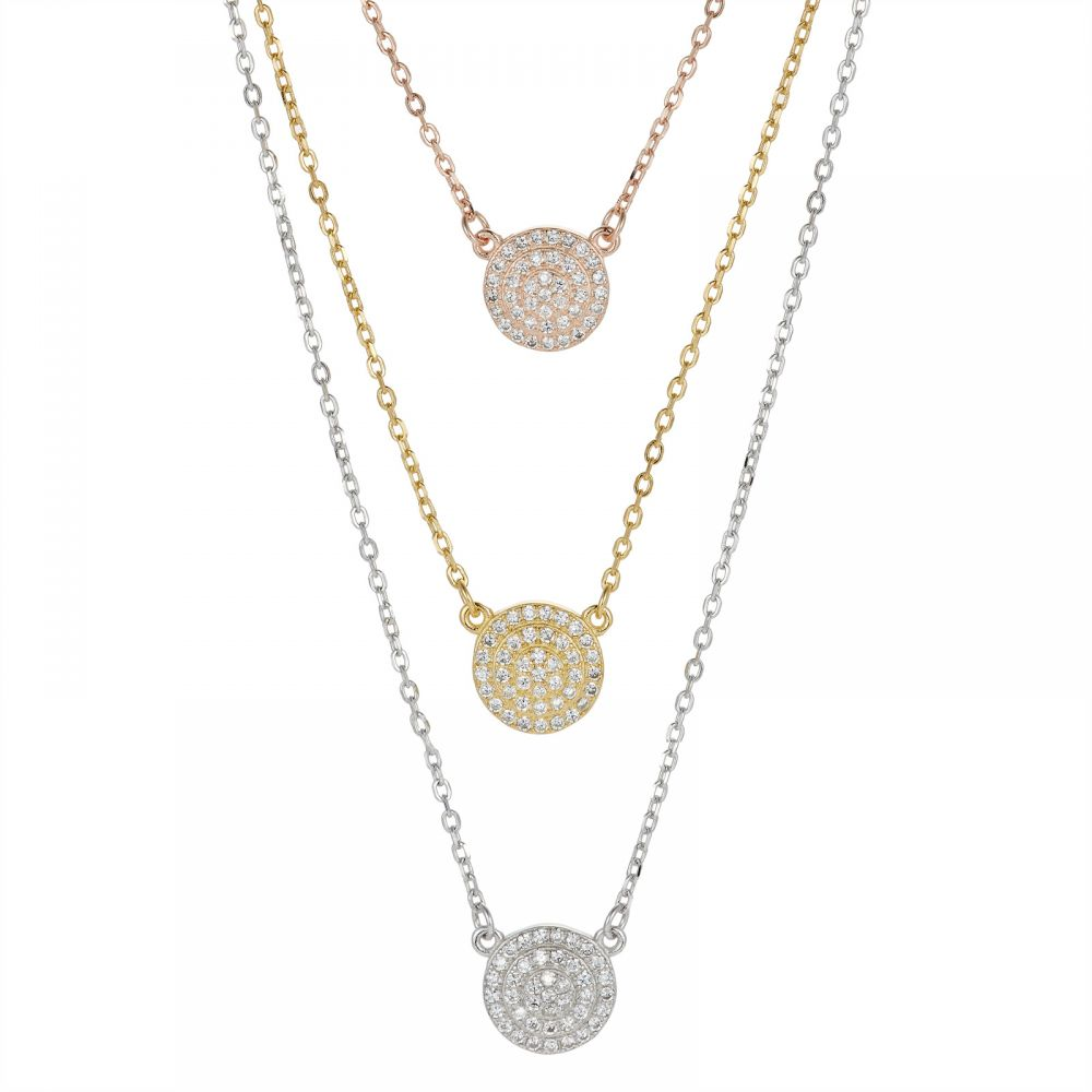 925 Silver Round Pave Tricolor CZ Necklace NK1014