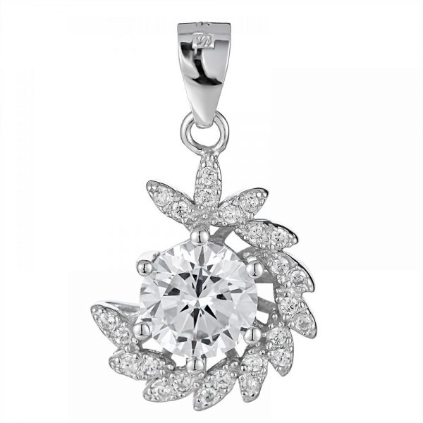 925 Silver Half Curve Flower with Crystal Pendant PD0026