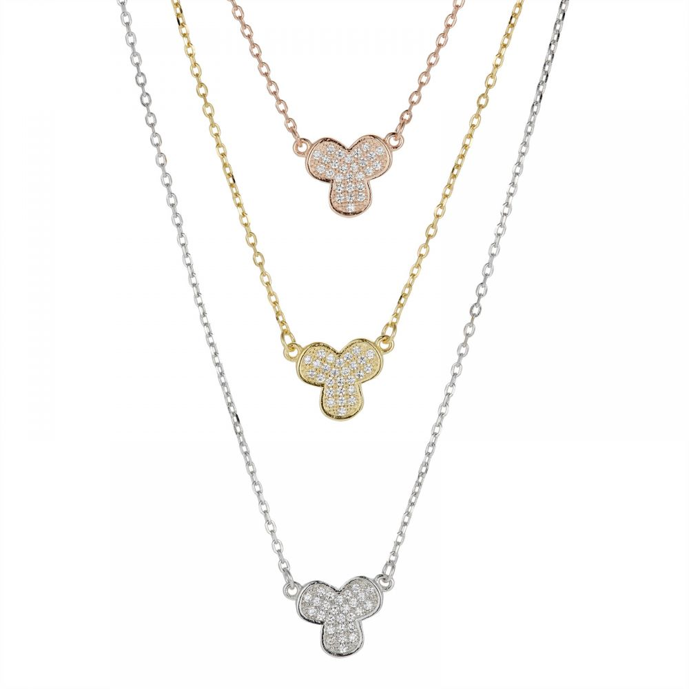 925 Silver Flower Tricolor CZ Necklace NK1022