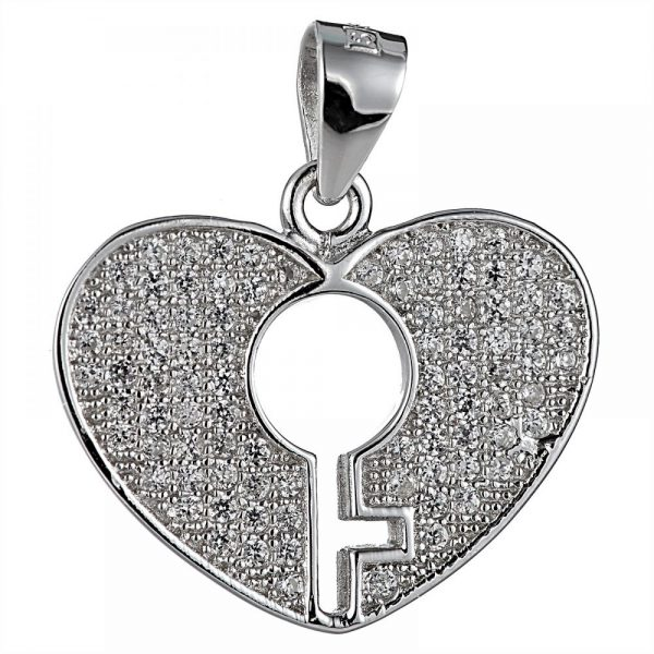 925 Silver Heart with Keyhole Pendant PD0030