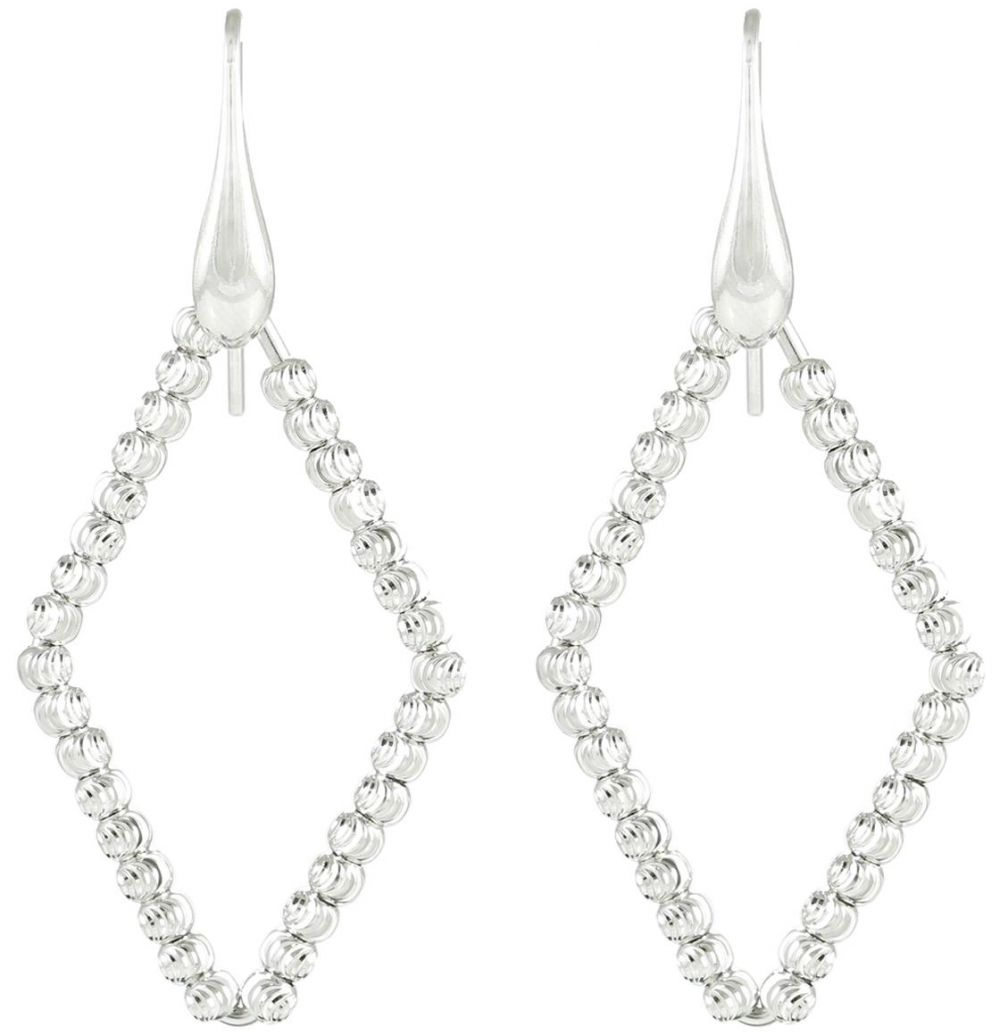 925 Italian Silver Diagonal Shape Beads Earrings ER58