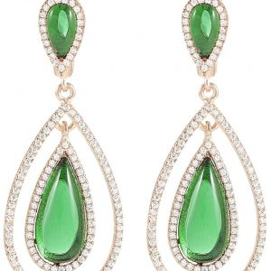 925 Silver Double Drop Green Crystal Dangling Earrings ER73
