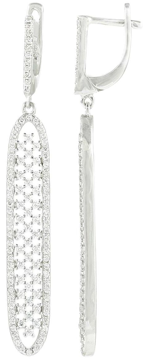925 Silver Oval Bar CZ Dangling Earrings ER70