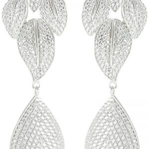 925 Silver Leaf Drop Microset Dangling Earrings ER68