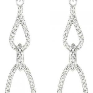 925 Silver Oval CZ Drop Earrings ER71