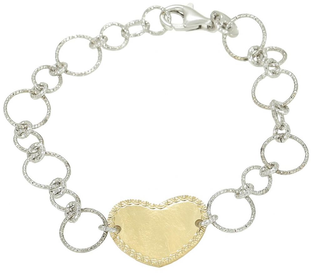925 Silver Round Link With Heart Charm Bracelet BR0069