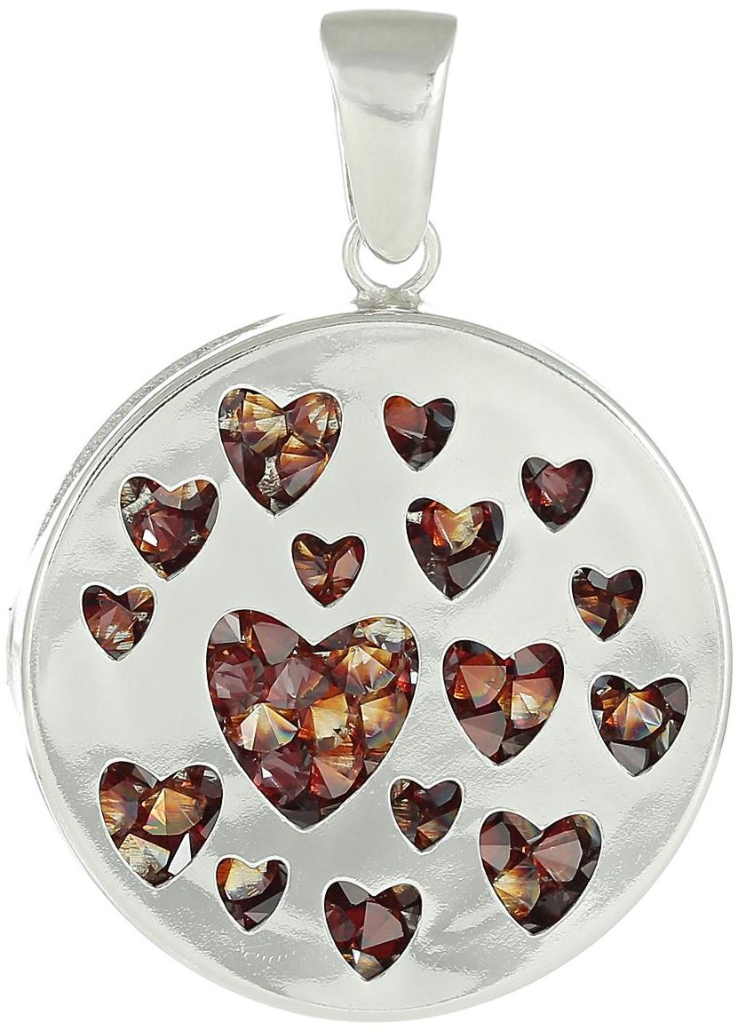925 Silver Round Heart with CZ Pendant PD48