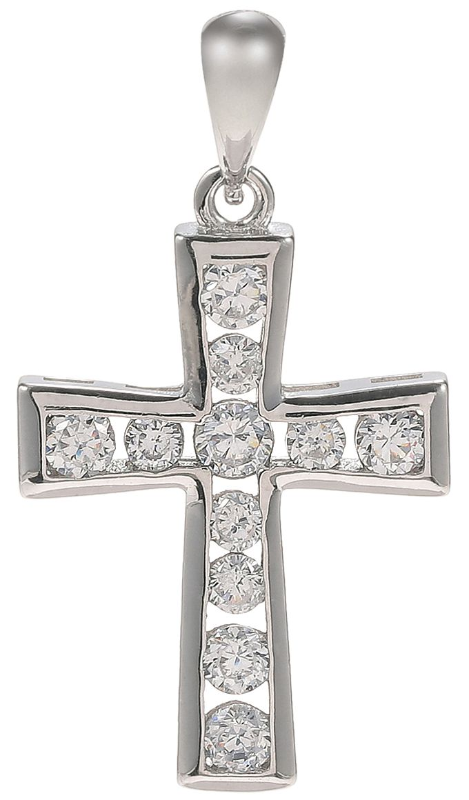 925 Silver Framed CZ Cross Pendant PD34