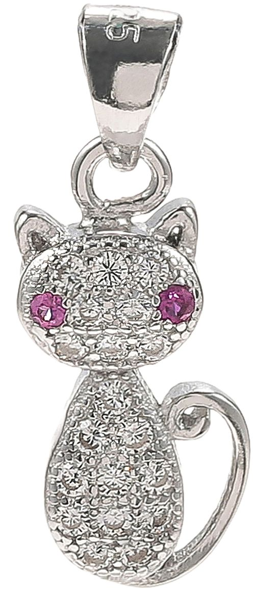925 Silver Cat with Red Eye Pendant PD42