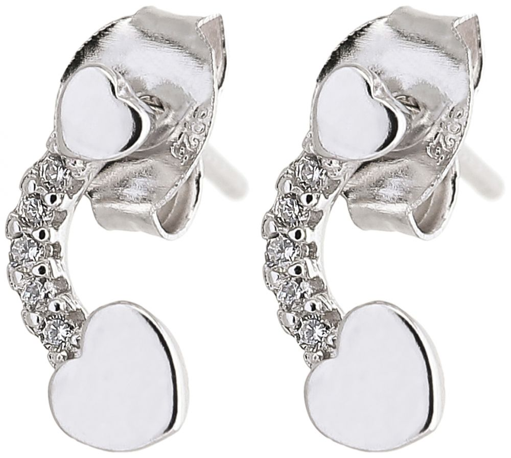 925 Silver Curved Heart Earrings ER28