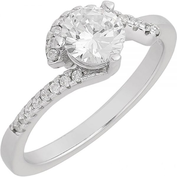 925 Silver Spiral Solitaire Ring RG091
