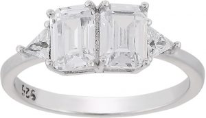 925 Silver Twin White Crystal Ladies Ring RG081