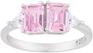 925 Silver Twin Pink Crystal Ladies Ring RG079