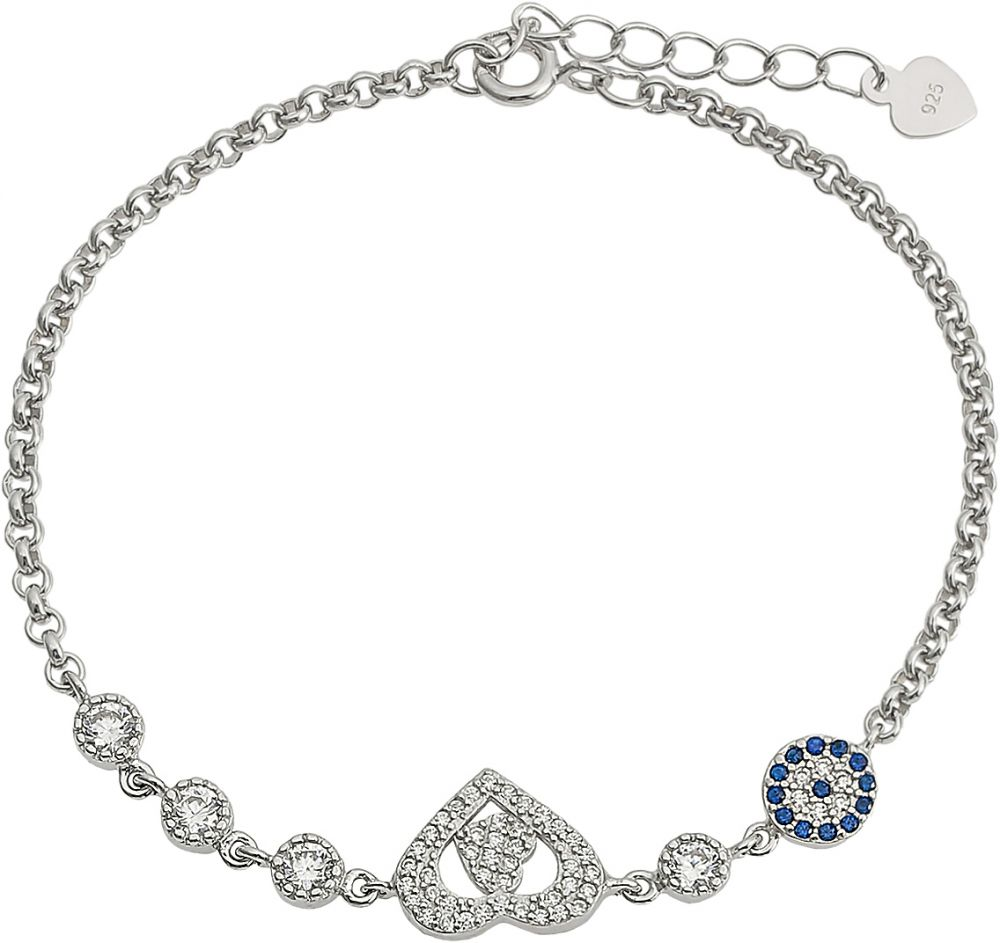 925 Silver Heart with Round Pave Bracelet BR0013