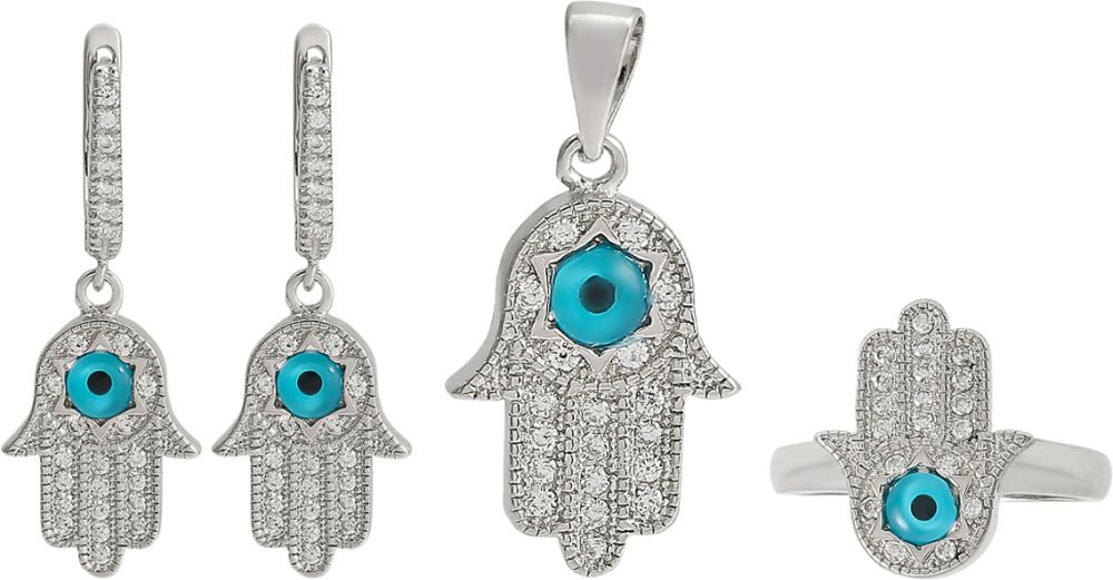 925 Silver Fatima hand with Evil Eye Jewelry Set JWSET0007