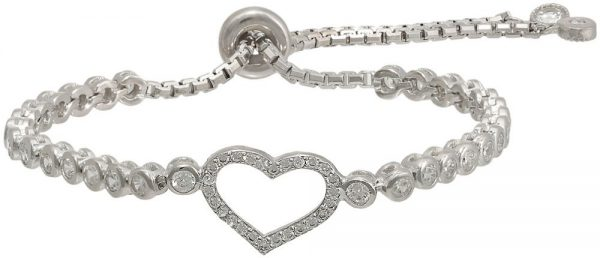 925 Silver Heart Adjustable Bracelet BR0018