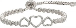 925 Silver Triple Heart Adjustable Bracelet BR0017