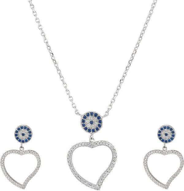 925 Silver Heart with Evil Eye Jewelry Set JWSET0004