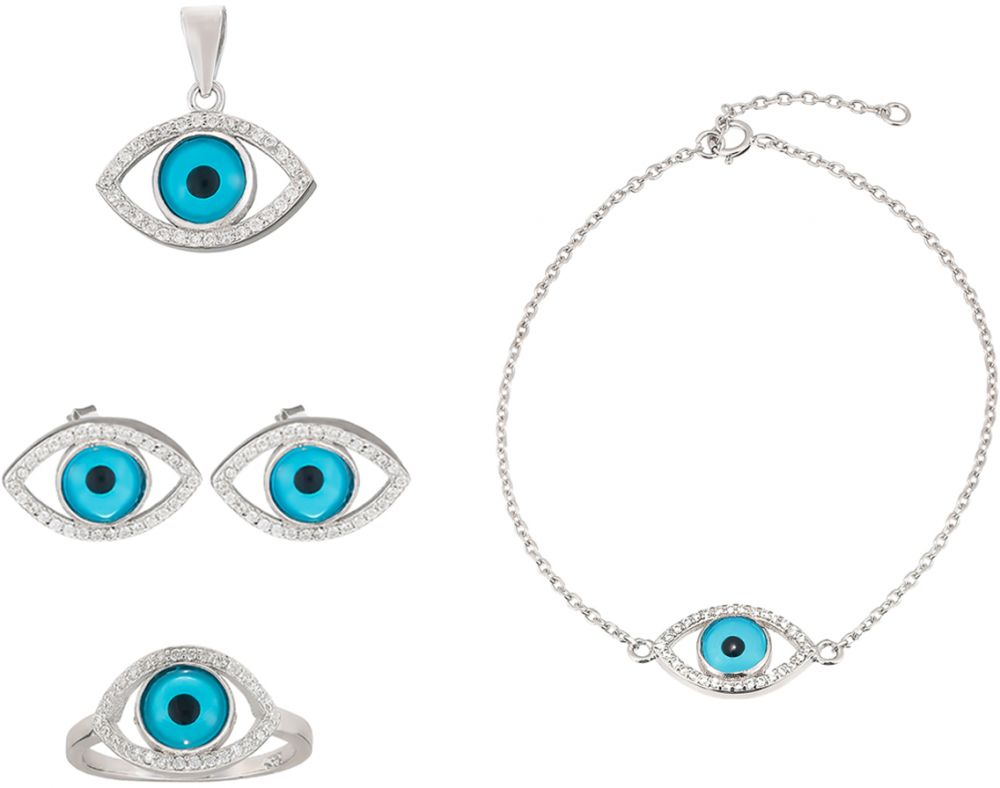 925 Silver Evil Eye Jewelry Set JWSET0003