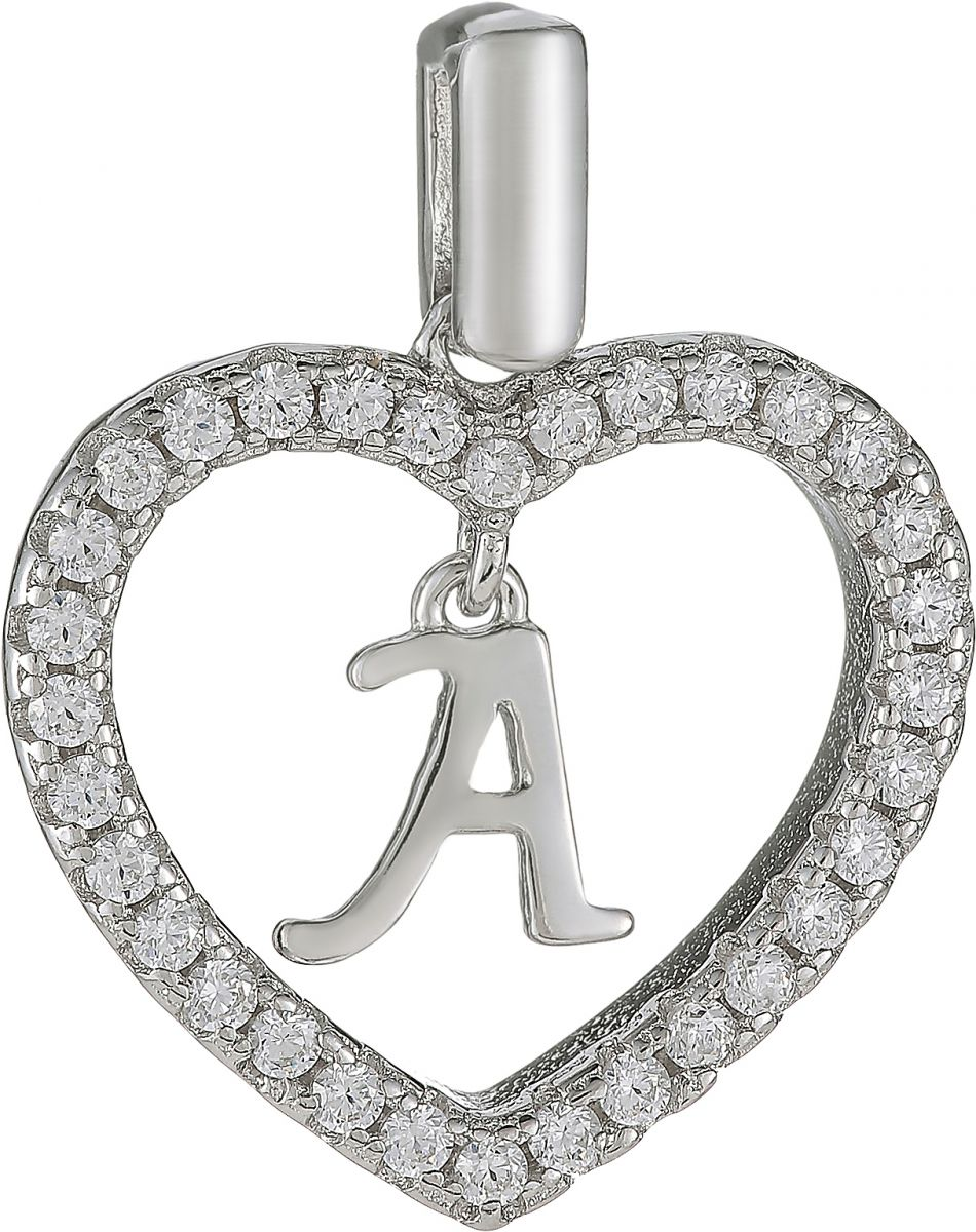 925 Silver Heart Framed Charm Letter A Pendant PD14