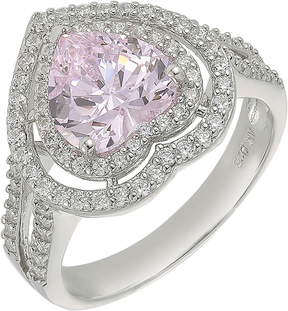 925 Silver Double Frame Pink Heart Ladies Ring RG006