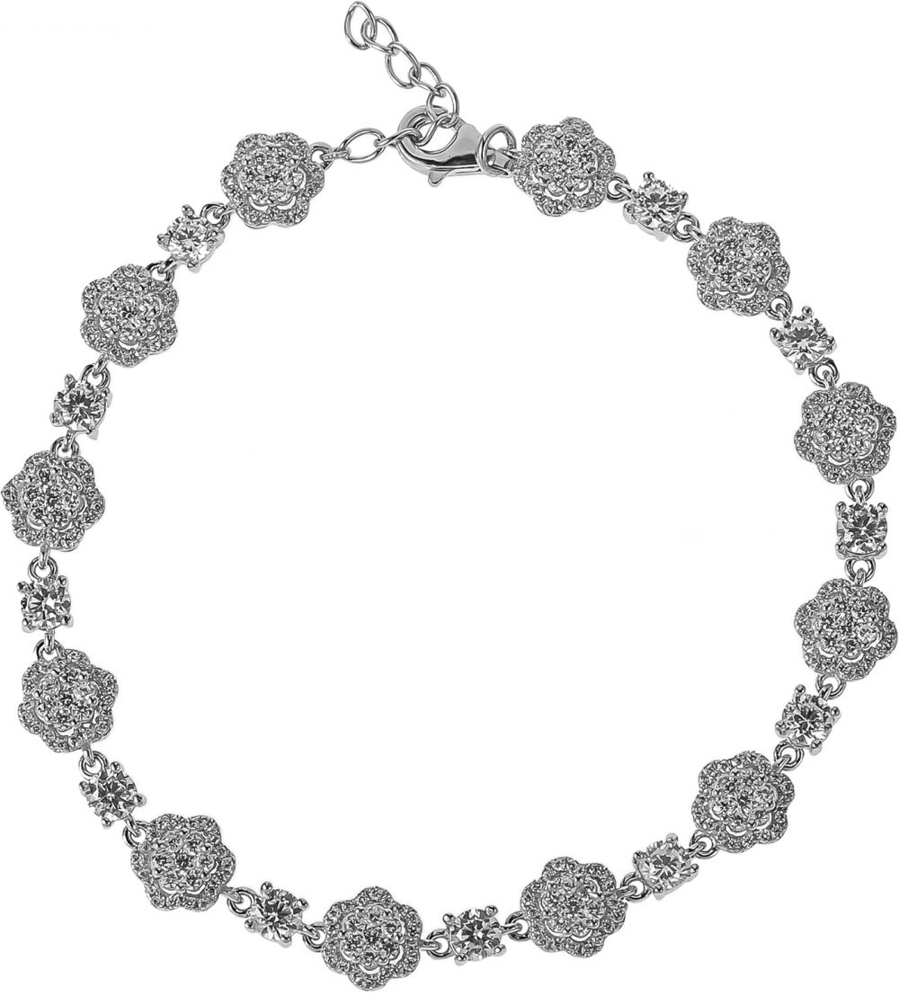 925 Silver Flower with Crystal Bracelet BR0081