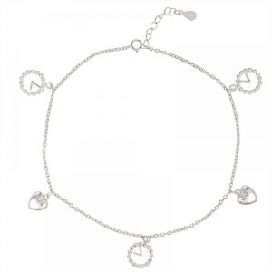 925 Silver Heart Love Charm Anklet ANK001