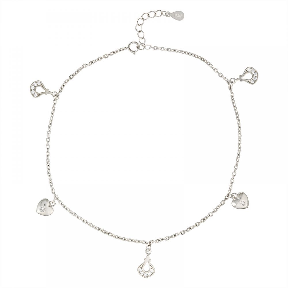 925 Silver Heart Charm Anklet ANK002