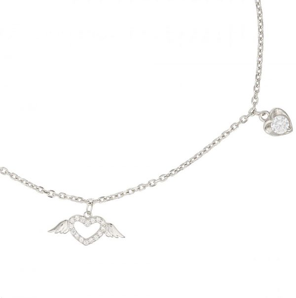 925 Silver Heart Wing Charm Anklet ANK005