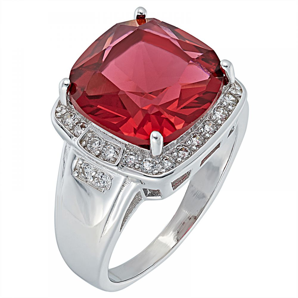 925 Silver Square Frame with Red Crystal Ring LRG1037