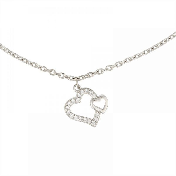 925 Silver Heart with Starfish Charm Anklet ANK006