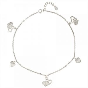 925 Silver Double Heart Charm Anklet ANK007