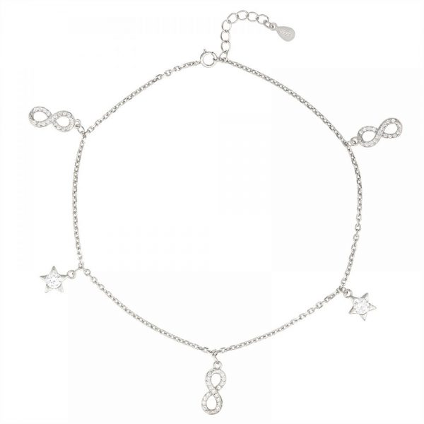 925 Silver Infinity and Star Charm Anklet ANK009