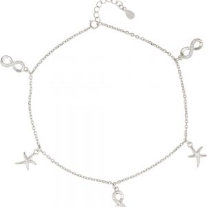 925 Silver Infinity and Starfish Charm Anklet ANK010