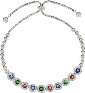 925 Silver Round Color Crystals Adjustable Bracelet BR1019