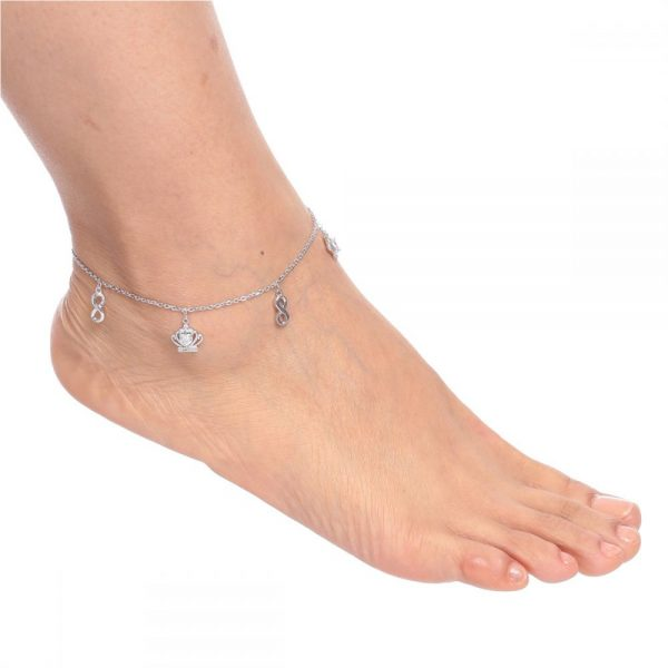 925 Silver Infinity and Crown Charm Anklet ANK014