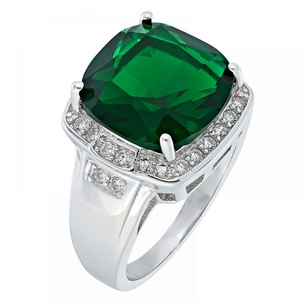 925 Silver Square Frame with Green Crystal Ring LRG1038