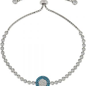 925 Silver Round Pave Shape Turquoise and CZ Adjustable Bracelet BR1026